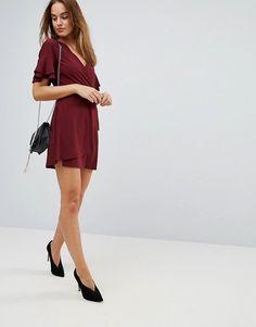 ASOS | ASOS Mini Wrap Dress With Double Flutter Sleeve