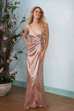 B203016 V-neck Sequins High-Low Bridesmaid Dress