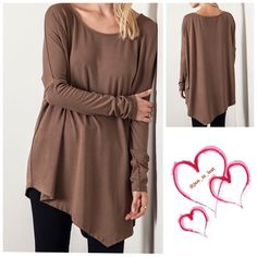 Asymmetrical Brown Top Medium Asymmetrical long top. 60% cotton 40% polyester blend.  This is so cute!!  I'm loving this!  Fit is true to size!! Let me know what size and I will make you a listing.... No Trades  ✅ Price Firm Unless Bundling✅ Tops
