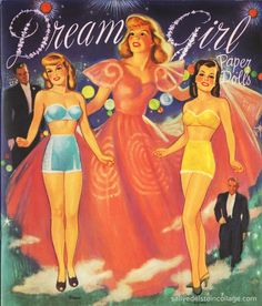 #Vintage #paperDolls - Loved the gowns in gorgeous colours. So many flounces to cut out!
