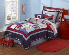 Light the fire in a little boy's eyes with the My World Fireman quilt set for his very own little bed. Fun hero style cotton bedding for young boys in twin or full/queen at Just Boy's Bedding. Teen Boy Bedding, Sports Bedding, Kids Bedding Sets, Comforter Sets, King Comforter, Sports Quilts, Peach Bedding, Cotton Bedding, Twin Quilt