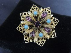 Vintage Rhinestone Gold Tone Brooch Amethyst Purple Blue Turquoise Flower Pin $11.99 on Ebay