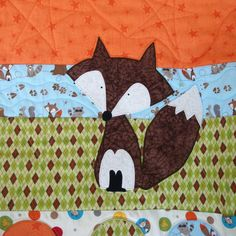 Baby+Fox+Lap+Quilt++Sweet+Fox+on+Green+Orange+by+SweetPeasGarden