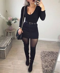All black outfit - Timeless Black and White Outfits – All black outfit All Black Outfits For Women, Black And White Outfit, Black Women Fashion, Clothes For Women, All Black Outfit Casual, Womens Fashion, Black White, Black Clothes, Work Clothes