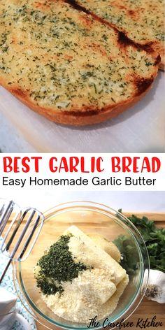 Homemade Garlic Butter, Garlic Bread Butter, Garlic Bread Seasoning Recipe, Garlic Bread Recipes, Easy Garlic Bread, Garlic Bread Spread, Butter Bread Recipe, Flavored Butter, Appetizer Recipes