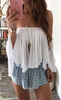 #summer #fashion / pattern print romper + off-the-shoulder top