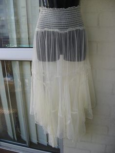 20% OFF..Vintage Stunning Sheer Tulle Net Mesh Pastel Yellow Hankerchief Hem Gypsy Boho Stevie Nicks Dress Skirt WAS 120