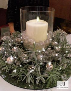 Christmas centrepiece with candle