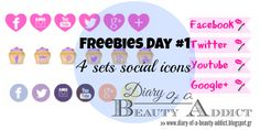 Diary Of A Beauty Addict : Freebies Day 4 sets social icons Friday Love, Social Icons, Blogger Tips, Blog Design, Lifestyle Blog, Addiction, Social Media, Beauty, Social Networks