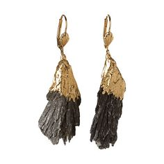 "Dipped Kyanite Earrings    Raw kyanite stone dipped in 24k gold dangles sweetly from each ear. Due to the natural shape of each piece, pendants vary slightly.    - Kyanite, 24k gold plated sterling silver  - Imported    3""L"