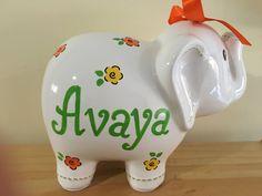 Personalized Large White Flower Elephant Piggy Bank - Newborns, Birthday Girls…