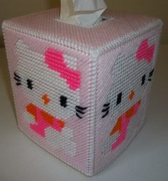 snowman plastic canvas pattern | Cute Hello Kitty Tissue Box Cover by mycottageinthewoods on Etsy