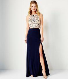Dear Moon Embroidered Appliqué Bodice Long Dress #Dillards | Prom ...