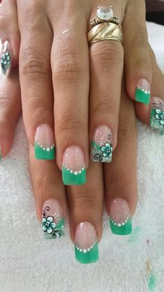 Uñas French Nail Designs, Nail Art Designs, Cute Nails, Pretty Nails, St Patricks Day Nails, Vintage Nails, Flower Nail Art, Stylish Nails, French Nails