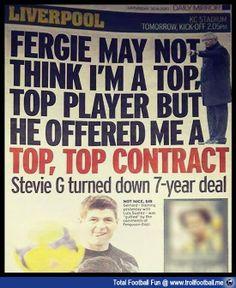 GERRARD FINALLY REPLIES TO SAF  http://www.trollfootball.me/display.php?id=14140  #football #soccer #Trollfootball #LFC #LiverpoolFC #StevenGerrard #SG8 #SAF #SirAlex