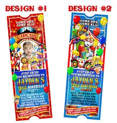 Circus Carnival Birthday Party Photo Ticket by BlitzDesignzz, $10.99
