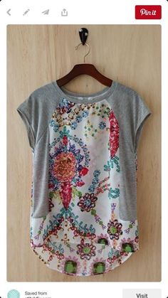 Stitch Fix Fashion 2017 - Detailed tee, grey sleeves and side and floral boho design. Spring Fashion - Stitch Fix Fashion 2017 - Detailed tee, grey sleeves and side and floral boho design. Diy Clothing, Sewing Clothes, Clothes Refashion, Upcycle T Shirts, T Shirt Refashion, Refashioning Clothes, Remake Clothes, Redo Clothes, Refashioned Clothing