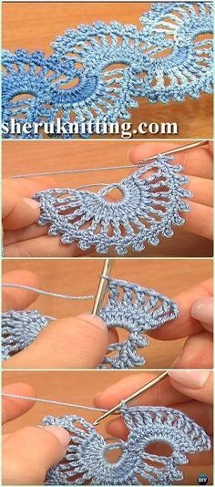 Crochet Fan Stitch Tape Lace Free Pattern Video - Crochet Tape Free Patterns