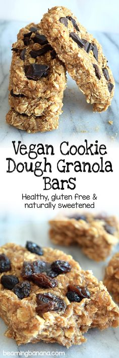 Vegan cookie dough granola bars are chewy, rich, and loaded with chocolate or raisins! Such a wonderful sweet snack, breakfast, or dessert. Gluten free and sweetened naturally! | beamingbanana.com