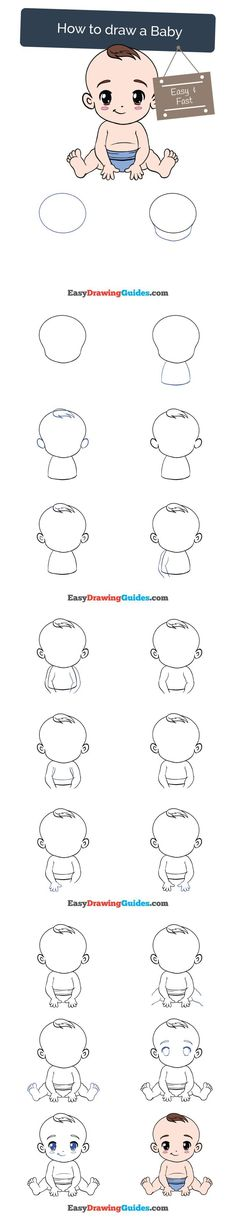 Learn How to Draw a Baby: Easy Step-by-Step Drawing Tutorial for Kids and Beginners. #baby #drawing #tutorial. See the full tutorial at https://easydrawingguides.com/how-to-draw-a-baby/