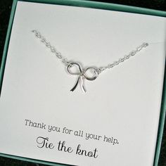 Tie the Knot Necklace Thank You Gift Cards by StarringYouJewelry