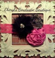 Triple or Double flower Headbands- Choose Cheetah Hot Pink, Zebra/Hot pink, Cheetah/Light pink, Hot pink/Camo or Grey and light pink on Etsy, $6.75