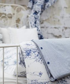 blue and white Toile and French ticking