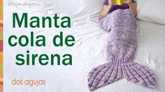 Manta o colcha cola de sirena tejida a palitos / Knitted mermaid tail bl...