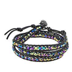 AeraVida Rainbow Muse Fashion Crystal Tribal Wrap Leather Bracelet (45 AUD) ❤ liked on Polyvore featuring jewelry, bracelets, rainbow, crystal wrap bracelet, crystal jewellery, leather bangle, crystal jewelry and black wrap bracelet