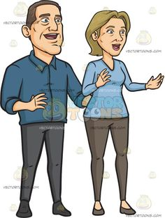 A Sad Middle Aged Couple: A middle aged man with brown hair wearing a dark blue dress shirt gray pants shoes stands beside his wife with ash blonde hair wearing a light blue sweatshirt brownish gray leggings and shoes as they both look helpless and sad Grey Leggings, Grey Pants, Ash Blonde Hair, Brown Hair, Dark Blue Dress Shirt, Middle Aged Man, Man Vector, Shoes Stand, Newly Married