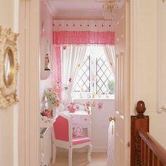Girl's Pink Bedroom - Home Gallery Design Pink Bedroom For Girls, Little Girl Rooms, Pink Curtains, Pink Houses, Decoration, Room Inspiration, Bedroom Decor, House Design, Interior Design