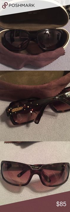 Coach Sunglasses Tortoise Brown Coach Sunglasses. SAMANTHA FRAME. I bought these at the coach store and only wore a few times. Comes with case and cleaning cloth. Case has a few marks on the outside but glasses are in excellent condition! The sides are very pretty with the gold Coach tag and gold accent marks on both sides. Coach Accessories Sunglasses