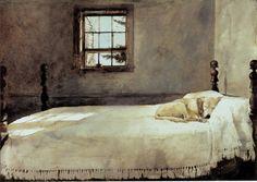 My favorite painting.  Andrew Wyeth 'Master Bedroom' c.1965 by Plum leaves, via Flickr