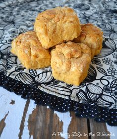 Sweet Potato Biscuits 1 3/4 c flour  2 tbsp brown sugar  2 1/2 tsp baking powder  1/2 tsp salt  1/2 tsp baking soda  6 tbsp chilled butter, in pieces  3/4 c sweet potato puree  1/3 c buttermilk    Whisk together dry ingredients.  Using a pastry cutter, cut in chilled butter, to coarse meal texture, with some pea size pieces.  Combine sweet potato puree and buttermilk, then add to dry mixture, stir w/ fork, but don't over mix.  Form into 8 biscuits.  Preheat oven to 425F; bake for 20-25min.