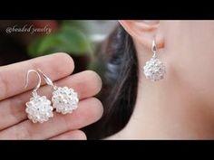 Swarovski beaded ball earrings. Super easy to make for beginners. Beading tutorial - YouTube Beaded Bracelet Patterns, Jewelry Patterns, Bead Patterns, Bead Jewellery, Beaded Jewelry, Handmade Jewelry Designs, Earrings Handmade, Diy Jewelry Inspiration, Jewelry Ideas