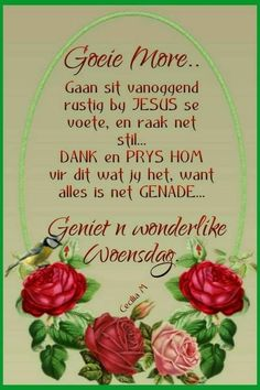 Lekker Dag, Afrikaanse Quotes, Goeie More, Uplifting Words, Morning Greetings Quotes, Christmas Bulbs, Wednesday, Humor, Poster