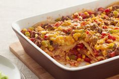 Serve up our Tex-Mex casserole and go for the win.  This Layered Fiesta Casserole is ready in less than an hour and has all-family appeal - what more could you ask for in an oven-baked casserole?