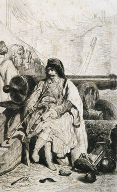 Albanian warlord in the Calafat Military Camp .1855 (Theodor Valerio)