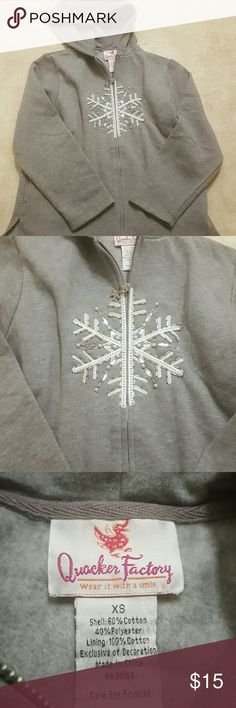 Snow flake hoodie Gray snow flake zip hoodie. I love but to big. Says size extra small. I would call it a medium quaker factory Tops Sweatshirts & Hoodies