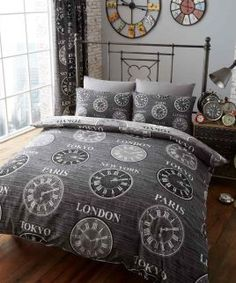 Duvet Cover Set Double With Pillowcases Quilt Bedding Set Reversible Poly Cotton , Titanium Clock Print Black King Size Bedding Sets, Girls Bedding Sets, Duvet Sets, Duvet Cover Sale, Quilt Cover Sets, Duvet Covers, Comforter Cover, Blanket Cover, Plaid Bedding