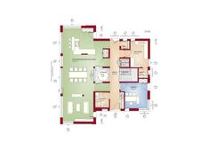 Floor plan Detached house ground floor open with atrium, 5 room, 250 SQM - House build ideas Bien Zenker Prefabricated house CONCEPT-M 210 Günzburg - HausbauDirekt. The Plan, How To Plan, Dream Home Design, Modern House Design, Casa Atrium, Building Plans, Building A House, Square House Plans, Living Haus