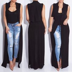 Women Kimono Jacket Chiffon Cardigan Black Long Top Blouse Beach Cover Up Dress in Clothing, Shoes & Accessories, Women's Clothing, Tops & Blouses Fashion Mode, Look Fashion, New Fashion, Womens Fashion, Fashion Vintage, American Fashion, Trending Fashion, Fashion Brand, Chiffon Cardigan