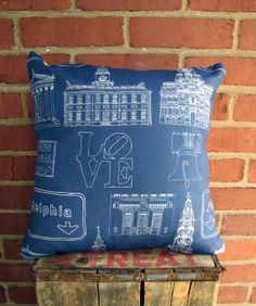 Philadelphia Landmark Pillow  Blue & Tan by BrickAndMortarDesign, $52.00