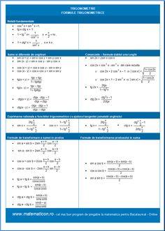 Trigonometrie - Formule Trigonometrice Calculus, Math, Trigonometry, Mathematics, Math Resources