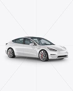Tesla Model 3 Mockup - Half Side View