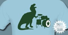 T-Rex Drums t-shirt from Amorphia Apparel: A big mean nasty ol' T-Rex rocking out on the drums. Which modern science tells us is was the most musical of all the dinosaurs. I just really like the idea of him flailing away with his teeny tiny arms.