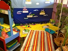 Cool beach setup for a classroom.  Walker Learning Approach's amazing Play Based Learning approach in action.