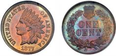 1877 Indian Head Cent Redish/Orange Hues on the Obverse and Light Blues and Purple on the reverse