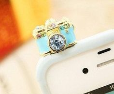 Galaxy s4 s3 crystal camera dustplug phone charm iphone earplug  dust plug headpone jack charm headphone plug earcap earplug iphone charm on Etsy, $9.99