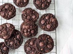 These are brownie-like and chewy. Be careful not to overbake them, they may seem like they arent done after 10 minutes but they are! See the variations for Chewy Chocolate Cherry Cookies and Chocolate Hazelnut (or almond or walnut or whatever) Cookies at the bottom of the directions. Recipe from the Post Punk Kitchen (www.thePPK.com) and accredited to Isa.